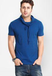 Solid Blue High Neck T Shirt