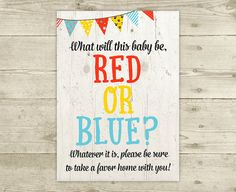 Gender Reveal  Red or Blue  Baby Shower Favor by CelebrateBabyCo