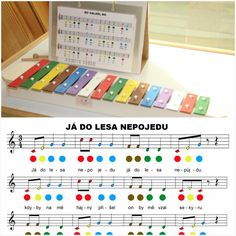 Barevné noty pro xylofon (zvonkohru) Piano Sheet Music, Kids Songs, Music Lessons, Diy Toys, Music Instruments, Activities, Children, School, Music Education