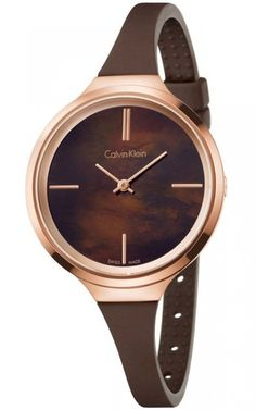This stunning ladies Calvin Klein Lively watch is made from stainless steel and is fitted with a quartz movement. It is fastened with a brown leather strap and has a brown dial. Brand:Calvin Klein Pac