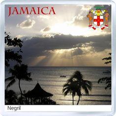 $3.29 - Acrylic Fridge Magnet: Jamaica. Negril Beach Sunset