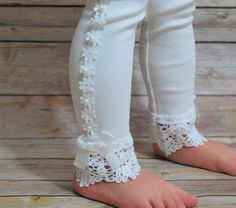 White Lace Leggings, new leggings, girls spring outfits, easter dress, spring party, tea party.