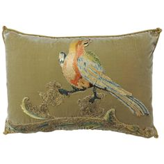 Silk Velvet Orange Bird Applique Pillow | From a unique collection of antique and modern pillows and throws at https://www.1stdibs.com/furniture/more-furniture-collectibles/pillows-throws/