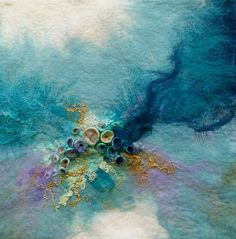 abstract textile art which shows the subtlety of colour that can be achieved using felt Felting Rae Woolnough Textiles Artist