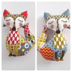 Fox cushion / plush toy featuring geometric patterns