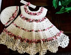 Crochet baby dress in cream and shades of pink by EmporiumHouse, $55.00