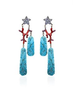 Lydia Courteille. Coral, turquoise, sapphire & diamond earrings...♡