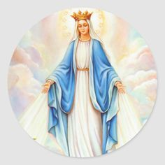 Virgin Mary Lady of Grace Queen of Heaven Madonna Classic Round Sticker Blessed Mother Mary, Blessed Virgin Mary, Virgen Mary Tattoo, Images Of Mary, Lady Images, Virgin Mary Art, Crown Images, Mama Mary, Queen Of Heaven