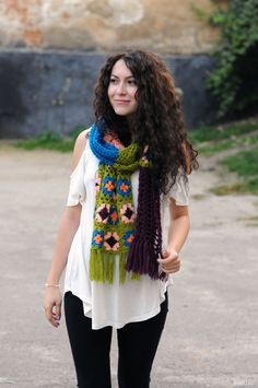 OOAK Crochet scarf handmade scarf Crochet shawl Crochet wrap Granny square scarf Fringe scarf cowl Knit neck warmer Womens knit scarves