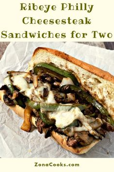 Ribeye Philly Cheesesteak Sandwiches have long crusty rolls filled with tender pan fried Ribeye beef steaks green pepper onions mushrooms and melted provolone cheese. Oven Baked to perfection and ready in just 30 minutes. Philly Cheese Steaks, Philly Cheese Steak Sandwich, Cheese Steak Sandwich Recipe, Steak And Cheese Sub, Steak Sandwiches, Sandwich Fillings, Beef Recipes, Cooking Recipes, Cooking Ingredients