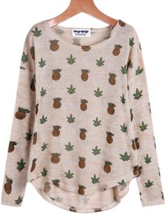 Shop Apricot Long Sleeve Pineapple Print T-Shirt online. Classy Outfits, Casual Outfits, Cute Outfits, Fashion Outfits, Pink Long Sleeve Tops, Long Sleeve Shirts, Pineapple Clothes, Jean Skirt Outfits, Pineapple Print