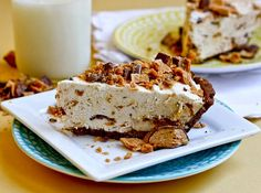 Frozen Peanut Butter Butterfinger Pie -- No bake and you can sub in your favorite candy bar!!