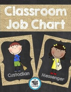 Job cards in a burlap and chalkboard theme to help keep your classroom running smoothly! Included are 31 different cards