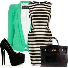 Love the black and white striped dress with the mint blazer.