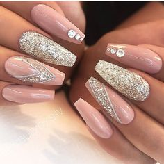 About Long Acrylic Nails Coffin Glitter Sparkle Beautiful 74 - Nail Art Designs Long Acrylic Nails, Acrylic Nail Art, Acrylic Nails For Summer Glitter, Light Pink Acrylic Nails, Wedding Acrylic Nails, Nail Summer, Cute Nails, Pretty Nails, Hair And Nails