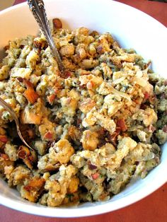 Slow Cooker stuffing loaded with bacon, sauteed onions, and sage. Save room in your oven by making this slow cooker  stuffing recipe easily this Thanksgiving.