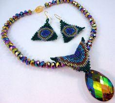 Peacock Bling Beadwoven Earrings by gypsyeyesjewelry on Etsy