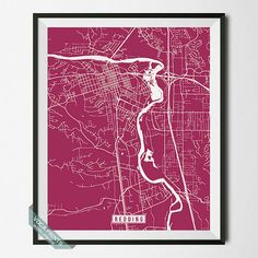 Redding Print California Poster Redding Poster by VocaPrints