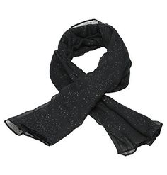 Echarpe Etole Chèche Foulard Femme Tendance avec paillettes 100% Viscose Très Doux et Long 190x 100cm Couleur Noir (Noir):…