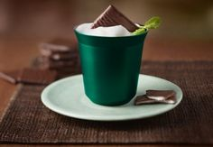 After Eight Coffee - Prepare the coffee in a Cappuccino cup Top the coffee with milk froth prepared using the steam nozzle of your Nespresso machine or the Aeroccino milk frother Sprinkle shavings of nougat chocolate on top and add an After Eight® chocolate mint to the milk froth to finish Serve immediately.