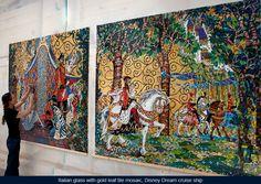 Italian glass with gold leaf tile mosaic wall mural, Disney Dream Cruise ship, Bahamian, Disney Caribbean Cruises