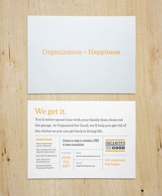 Promotional Postcard - Organized for Good by Seamless Creative