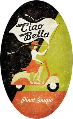 Vintage Wine Ciao Belllla - nostalgia - la dolce vita - High quality print on satin-finish poster paper Beautiful real wood charcoal black frame with premium clear acrylic. Acid free materials Framed size 17 x 21 (appr. Vintage Wine, Vintage Labels, Vintage Ads, Vespa Vintage, Vintage Italian Posters, Vintage Travel Posters, Poster Vintage, Poster Design, Art Design