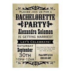 Vintage Country Bachelorette Party Invitation