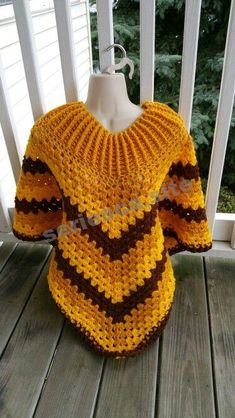 Hot Off My Hook! Project: Cowl-Neck Poncho Started: 30 Sept 2015 Completed: 03 Oct 2015 Model: Madge the Mannequin Crochet Hook(s): Cowl portion J, Granny Stitch Yarn: Redheart Super Saver Bernat Super Value Color(s): Gold, Bright Yellow, Walnut Patt Crochet Poncho Patterns, Crochet Jacket, Crochet Cardigan, Crochet Scarves, Crochet Shawl, Crochet Clothes, Crochet Hooks, Knit Crochet, Simply Crochet