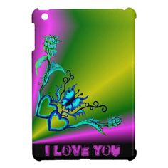 #Heart with #Flower and #Butterfly  #Love #Rainbow #Retro #iPad #Case by Krisi ArtKSZP on Zazzle. Today 15% Off All Products