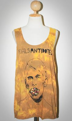 Foals Antidotes Tie Dye Bleached Yellow Sleeveless Tank Top Pop Rock T-Shirt Size M
