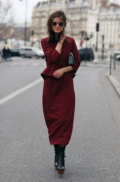 Burgundy is the color for fall! This outfit is unreal and perfect #valentino