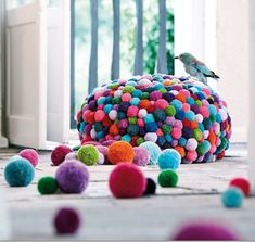 Colourful woollen pouffe