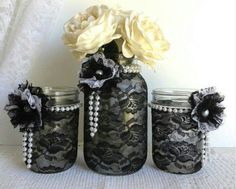 Black lace biker vow renewal decorating ideas