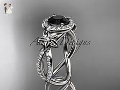 platinum leaf and flower diamond unique engagement ring, wedding ring with a Black Diamond center stone ADLR374 - Wedding and engagement rings (*Amazon Partner-Link)