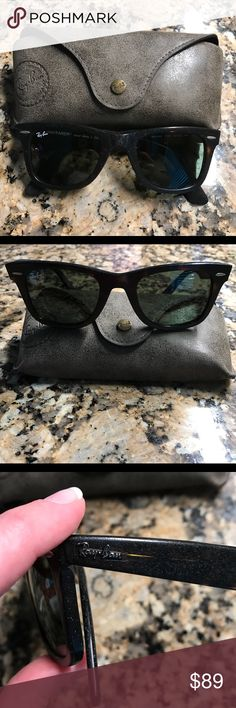 Ray-Ban Wayfarer 50mm Sunglasses Dark Havana 😎 Ray-Ban Wayfarer 50mm Sunglasses 😎 Purchased from Nordstroms in July 2015. Please see receipt in the last 2 photos. Color: Dark Havana. Comes with case! No scratches on the lens. As you can tell in photos 1 & 3 this particular frame style has a unique, rough texture--This is their original condition and not from wear as I have only worn them twice! The original Wayfarer in size 50mm style is a simple, clean design and a must-have for all…