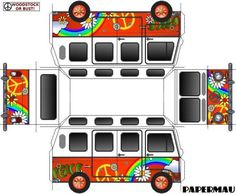 Volkswagen Kombi Type II Flower Power Paper Model - by Papermau Download Now! - == -  This is the Volkswagen Kombi Type II Flower Power, an easy-to-build model in only one sheet of paper, for all those who believe that we are still in the Age of Aquarius.