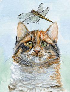 Calico cat and dragonfly by sschukina.deviantart.com on @deviantART