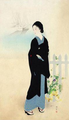 blackcoffeecinnamon:  Kaburagi Kiyokata (1878-1972) 鏑木清方 Akashichou, Tsukiji 築地明石町、1928 *title refers to an area in Tokyo