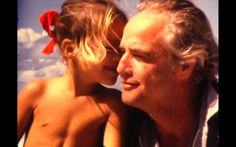 Marlon Brando with his daughter Cheyenne in 'Listen to Me.' Photo by Mike Gillman.