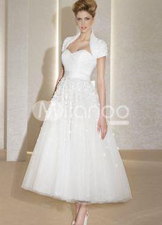 Delightful White Sweetheart A-line Grenadine Tea Length Wedding Dress