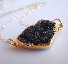 Black Druzy Necklace  www.etsy.com/shop/443Jewelry