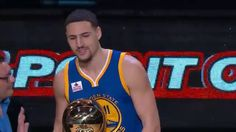 Klay Thompson scored 27 points in the final round to beat fellow Splash Brother Steph Curry in the 2016 Foot Locker Three-Point Competition. About the NBA: T. The Kat, Foot Locker, Best Player, Basketball Players, Lockers, Competition, Tank Man, Champion, Womens Fashion