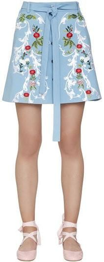 Embroidered Cotton Mini Skirt
