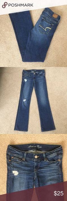 """American Eagle Outfitters slim boot jeans Beautiful pair of American Eagle 🦅 Outfitters slim boot stretch jeans. Size 4 regular. 31"""" inch inseam. Features some manufacturers distressing and fading. Gently worn and in great condition. Please ask questions 💫 American Eagle Outfitters Jeans"""