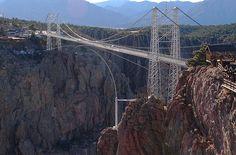 Royal Gorge Bridge, Arkansas River, Colorado    Now Second Highest suspension bridge in the world at 1053 feet (321 m) above the Arkansas River