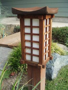 DIY pagoda garden lantern - instructions on link. I will use LED solar lights bought from amazon.com