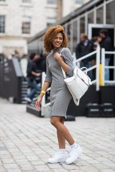 London Fashion Week street style—an argument for a sweater dress and white sneakers