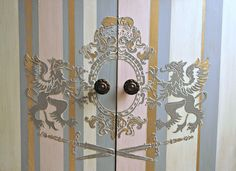 Raised design created with the Griffins stencil by Artisan Enhancements along with VP Antico.  Leaf & Foil Size, Gold Foil and a Scumble Glaze further accent the design!  Eco-friendly, sustainable art products by Artisan Enhancements.  Visit www.artisanenhancements.com for the tutorial on this finish and to find a retailer near you!