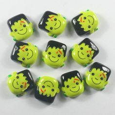 10pcs Monster Green Face Halloween Resin by TheButtonSisters